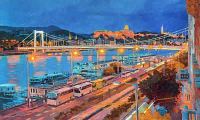 Urban Scenery Painting - Elisabeth Bridge With Lights by Judith Barath