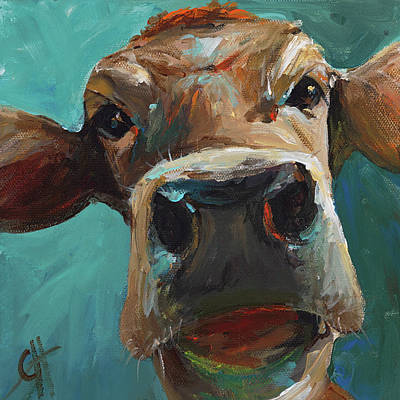 Faces Painting - Elise The Cow by Cari Humphry