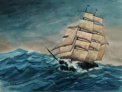 Elissa At Sea Art Print by Frank SantAgata