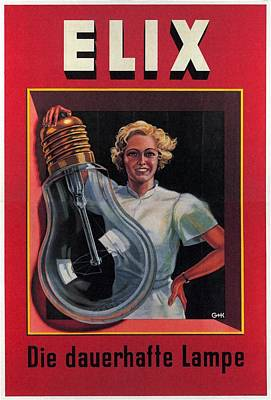 Royalty-Free and Rights-Managed Images - Elix - Die Dauerhafte Lampe - Vintage Advertising Poster by Studio Grafiikka
