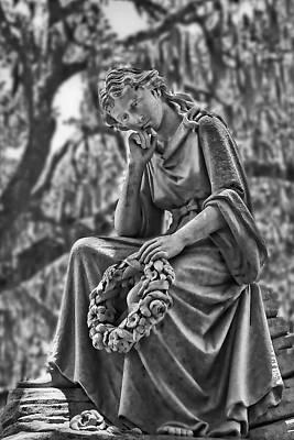 Photograph - Eliza Wilhelmina Statute In Black And White by Ginger Wakem