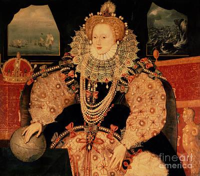 Globe Painting - Elizabeth I Armada Portrait by English School