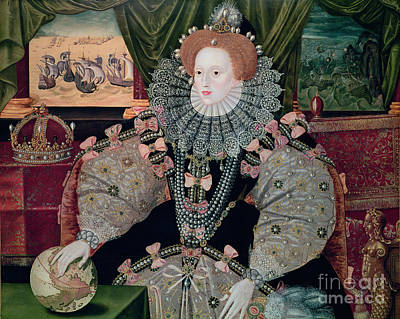 Royalty Painting - Elizabeth I Armada Portrait by George Gower