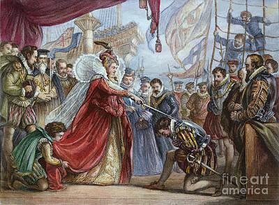 Elizabeth I/francis Drake Art Print by Granger