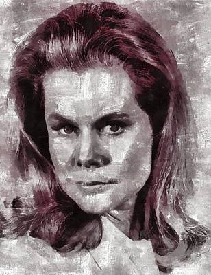 Bewitched Painting - Elizabeth Montgomery Hollywood Actress by Mary Bassett