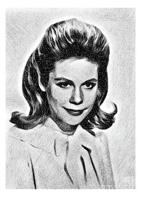 Musicians Drawings Rights Managed Images - Elizabeth Montgomery, Vintage Actress by JS Royalty-Free Image by John Springfield
