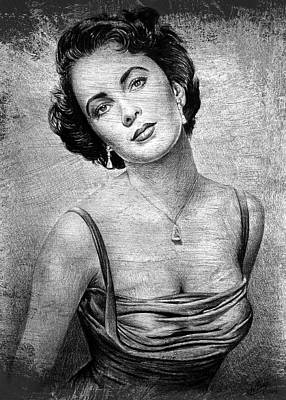 Drawing - Elizabeth Taylor Bw Ver 2 by Andrew Read