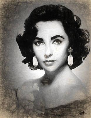 Elizabeth Taylor Drawing - Elizabeth Taylor Drawing by Quim Abella
