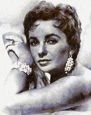 Elizabeth Taylor Wall Art - Painting - Elizabeth Taylor Hollywood Actress by Esoterica Art Agency
