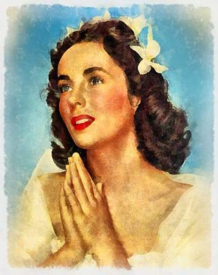Actors Royalty-Free and Rights-Managed Images - Elizabeth Taylor Hollywood Actress by Frank Falcon