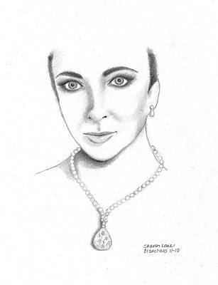 Elizabeth Taylor Drawing - Elizabeth Taylor by Sharon Blanchard