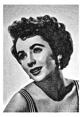 Musicians Drawings Rights Managed Images - Elizabeth Taylor, Vintage Actress by JS Royalty-Free Image by John Springfield