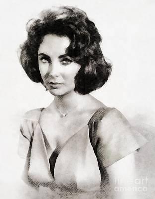 Elizabeth Taylor Painting - Elizabeth Taylor, Vintage Hollywood Legend By John Springfield by John Springfield
