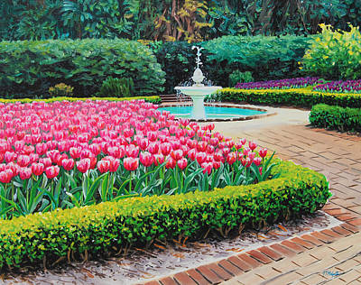 Painting - Elizabethan Gardens In Manteo by Tommy Midyette