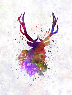 Moose Watercolor Painting - Elk 03 In Watercolor by Pablo Romero
