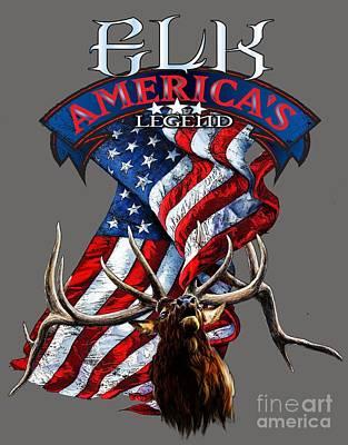 Tears Drawing - Elk America's Legend V2 by Rob Corsetti