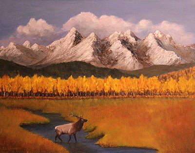 Painting - Elk Crossing by Janet Greer Sammons