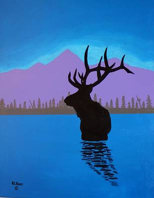 Painting - Elk Crossing Lake by Ralph Root