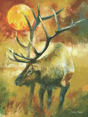 Elk Deer Male With Huge Antlers Original