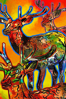 Pen And Ink Drawing Digital Art - Elk Expressions by Jo-Anne Gazo-McKim