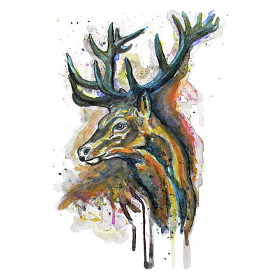 Painting - Elk Head by Marian Voicu