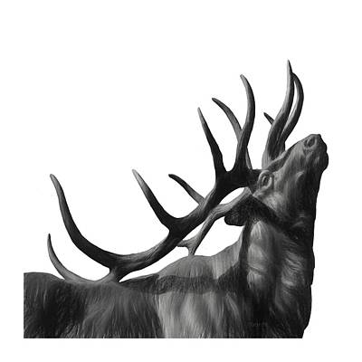 Painting - Elk In Black In White  by OLena Art Brand