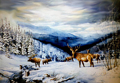 Elk In The Rockies Art Print by Hanne Lore Koehler