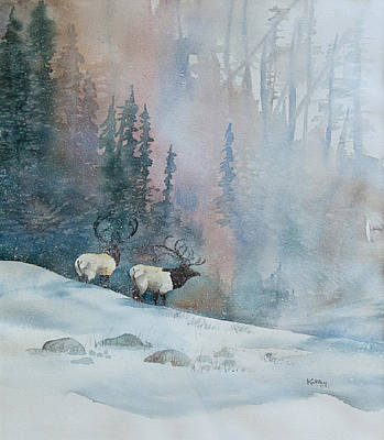 Painting - Elk In Winter by Jerry Kelley