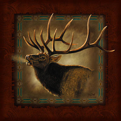 Elk Lodge Art Print by JQ Licensing