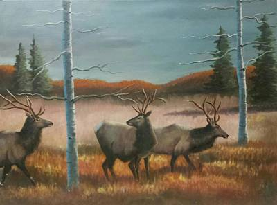 Pinetree Painting - Elk On The Move by Baltazar Barron Jr