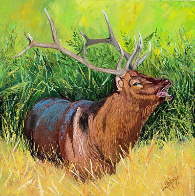 Meadowlark Painting - Elk Original Oil Painting On 24x24x1 Inch Gallery Canvas by Manuel Lopez