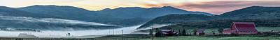 Elk River Fog At Sunrise Art Print