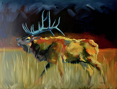 Painting - Elk Shout Out by Diane Whitehead