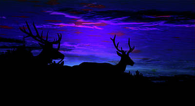 Mixed Media - Elk Silhouette Evening Dreamscape by Mike Breau
