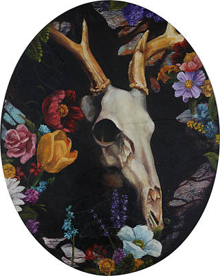 Painting - Elk Skull And Flowers by Elise Procter