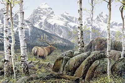 Painting - Elk Yellowstone by Brian Durfee