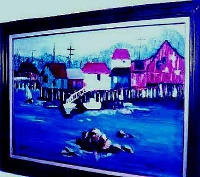 Monterey Wharf Painting - Elks Lodge - Art Exhibit - Fishermans Wharf Of Monterey by Peggy Leyva Conley