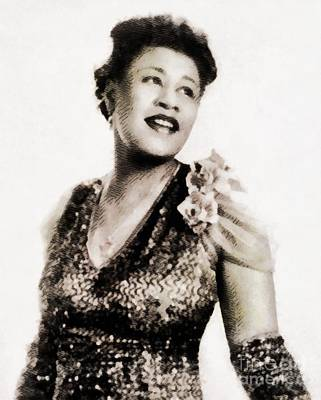 Musicians Royalty Free Images - Ella Fitzgerald, Music Legend by John Springfield Royalty-Free Image by John Springfield