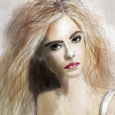 Beautiful Faces Digital Art - Elle  by Gary Bodnar
