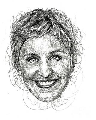 Hatching Wall Art - Drawing - Ellen Degeneres by Michael Volpicelli