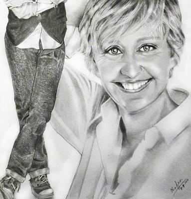 Portraits Drawing - Ellen Degeneres by Shafina Noor