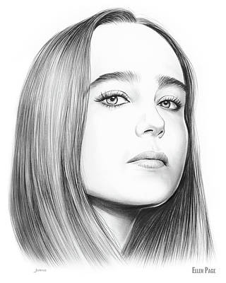 Drawing - Ellen Page by Greg Joens
