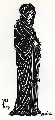 Pen And Ink Drawing Drawing - Ellen Terry As Rosamund De Clifford by Aubrey Beardsley