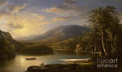 Reflecting Sunset Painting - Ellen's Isle - Loch Katrine by Robert Scott Duncanson
