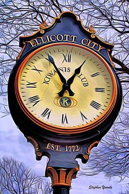 Md Digital Art - Ellicott City Clock by Stephen Younts