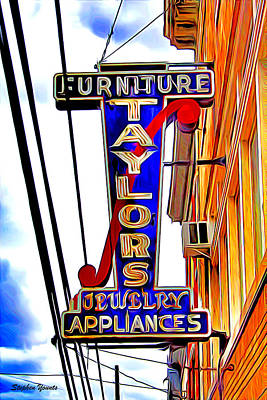 Howard County Digital Art - Ellicott City Taylor's Sign by Stephen Younts