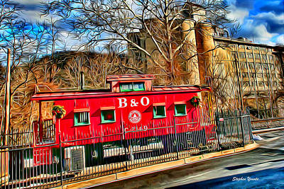 Ellicott Digital Art - Ellicott City Train And Factory by Stephen Younts
