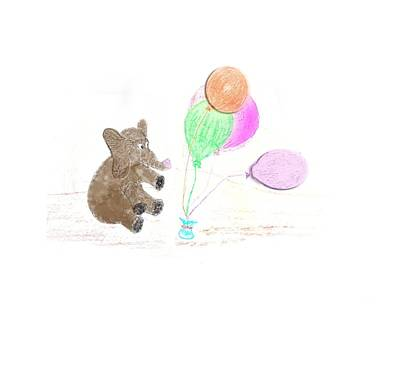 Digital Art - Ellie And Balloons by Judy Hall-Folde