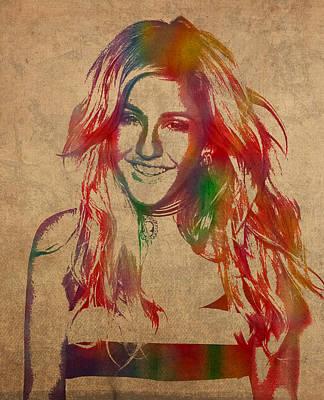 Ellie Goulding Watercolor Portrait Art Print