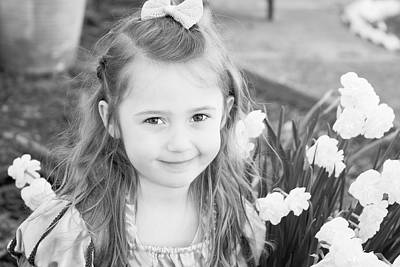 Photograph - Ellie In The Daffodils B And W by Theresa Johnson